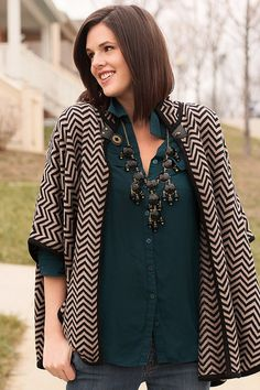 Love this cape paired with the dark teal blouse.     Feb9-6 by What I Wore Jessica, via Flickr
