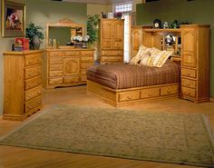 Bebe Furniture Country Heirloom Suite Bedroom Set, Medium Oak - Home Furniture Showroom