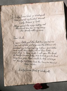 Check Out Sansa's Letter to the Blackfish — Making Game of Thrones