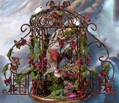 Fairy Scene in a Birdcage with Fairy Garden by DreamsCreatedinMt