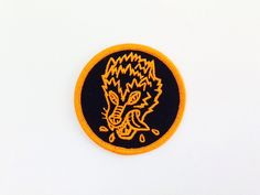 Image of 'Crazy Wolf' embroidered patch