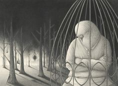 parrot in a cage drawing David Alvarez