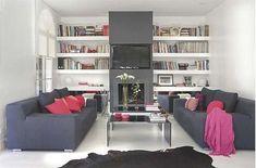 salon-con-chimenea Living Area, Living Room, Ideas Para, Bookcase, Entryway, Shelves, Interior Design, House, Furniture