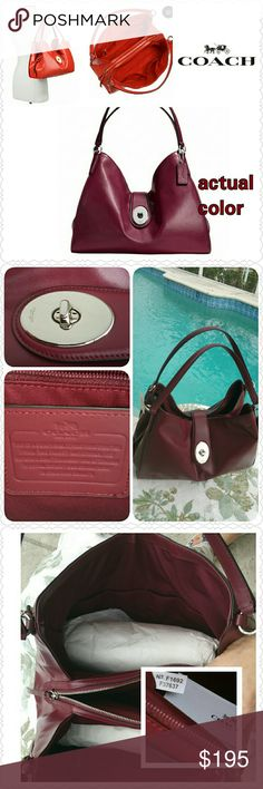 "NEW Coach Carlyle in Burgundy smooth leather Beautiful color for autumn & winter!  * Brand NEW with tag.  * 100% authentic.  * Style F37637, retail  $450.  * Smooth leather in Burgundy color. * Silver-tone hardware. * Turnlock closure. * Inside zip & multi-function pockets. * Handles with 11.5"" drop. * Size: 14.5""L x 11""H x 6""W. * Non-smoking home. * Thanks for visiting my closet!  And please note 3rd comment below....I can do a bundle discount with a wallet :)  - Aurora33180 Coach Bags…"