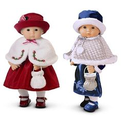 The Reversible Cape and Purse is a Bitty Baby outfit/accessory set released in 2004 and retired in 2005. Retail cost was$10. Reversible shoulder cape. One side, meant to match Rosy Red outfit, is white faux fur with holly embroideries in green and red around front edges, and a gradient pink ribbon bow at closure. Other side is meant to match Silver Bells outfit and is made of quilted silver fabric. Two white pompoms on strings at closure.