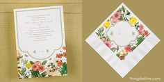 perfectly coordinated garden wedding invitations & napkins #wedding #WeddingInvitations #WeddingNapkins #gardenwedding
