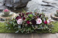 Rustic Merlot And Blush Rocky Mountain Wedding Inspiration 5 Pictures Bridal Party Tables, Wedding Table Centerpieces, Wedding Decorations, Table Decorations, Amanda Flowers, Pretty Flowers, Wedding Colors, Wedding Flowers, Wedding Arches