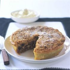 Festive mincemeat apple tart. Nice offering at the Christmas Table with custard & cinnamon whipped cream