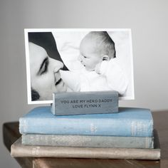 Personalised Slate Photo Holder, a great gift for a birthday, wedding or Christmas or a new Mummy or Daddy as a Christening gift for a new baby boy or girl. Baby Boy Or Girl, New Baby Boys, Fathers Day Gifts, Valentine Day Gifts, New Mummy, You Are My Hero, Customizable Gifts, Photo Holders, Christening Gifts