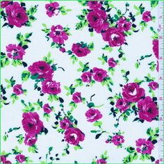"""White, Fuschia Pink, Lime  Spring Green trellis floral print Challis fabric This lightweight rayon Challis fabric has great drapability and is a great choice for blouses and dresses 100% Rayon 60"""" wide Hand wash cold or dry clean Compare to $12.00/yd"""