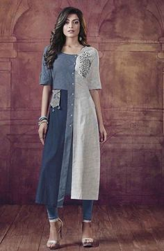 Picture of Blue & off-white designer printed kurti Kurti Designs Party Wear, Kurta Designs, Blouse Designs, Women's Fashion Dresses, Hijab Fashion, Boho Fashion, Linen Dresses, Cotton Dresses, Off White Designer