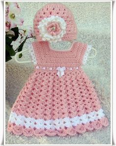 Baby Girl's Pink Dress with Matching Hat by SweetSouthernBabies - Baby Girl Dress - Ideas of Baby Girl Dress - Baby Girl's Pink Dress with Matching Hat by SweetSouthernBabies Crochet Baby Dress Pattern, Baby Girl Crochet, Crochet Baby Clothes, Crochet For Kids, Crochet Patterns, Knitting Patterns, Crochet Tutu, Crochet Dresses, Baby Girl Pink Dress