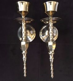 "Vintage Heavy 10.5""  Brass Wall Candle Holders / Sconces 10"" Made In India stores.ebay.com/urbanreseller"