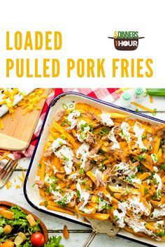 Loaded Pulled Pork Fries - 5 Dinners In 1 Hour Pork Loin, Pork Roast, Frito Pie, Baked Chicken Tacos, Shredded Pork, Salad Ingredients, Side Salad, Food For A Crowd, Party Snacks