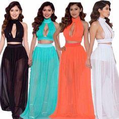 2 Pcs. Set Halterneck Chiffon Women Maxi Dress | Daisy Dress for Less | Women's Dresses & Accessories