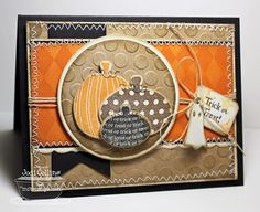 Trick or Treat! by Kharmagirl - warm fall colors on this card with sewing and pumpkins...like the inking on the big dots fon the textured kraft paper...