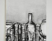 Grayscale Watercolor Jars Painting - Watercolor paper 12x18in