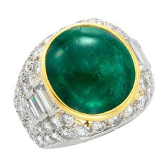 Bulgari Cabochon  Emerald Diamond Ring | From a unique collection of vintage dome rings at https://www.1stdibs.com/jewelry/rings/dome-rings/