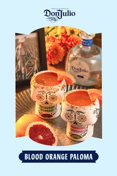 Día de los Muertos is a time to raise a glass to those who are with us in spirit. Make it special with a Blood Orange Paloma.  Add 1.5 oz Don Julio Blanco to a glass rimmed with chili powder. Add 1 oz fresh grapefruit juice and .5 oz fresh lime juice. Top with blood orange soda. Garnish with grapefruit slice.   Cocktail Menu, Signature Cocktail, Cocktail Recipes, Tequila, Grapefruit Cocktail, Grapefruit Juice, Bourbon Cocktails, Fall Cocktails, Housewarming Party