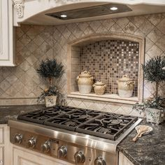 Kitchen Interior Design Remodeling Corner stove with built in tile shelf - Kitchen Stove, Kitchen Redo, Kitchen Backsplash, Backsplash Design, Kitchen Ideas, Backsplash Ideas, Kitchen Cabinets, White Cabinets, Room Kitchen