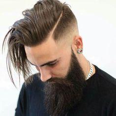 The Hard Part Haircut Mens Hairstyles + Haircuts 2017 Beard Styles For Men, Hair And Beard Styles, Curly Hair Styles, Hairstyles Haircuts, Haircuts For Men, Cool Hairstyles, Haircut Men, Hairstyle Ideas, Fade Haircut With Beard