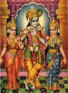 Krishna with wife Rukmini and Sathyabhama http://www.hindudevotionalblog.com/2015/08/rukmini-wife-of-lord-krishna.html