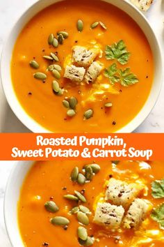 This Creamy Roasted Pumpkin, Sweet Potato and Carrot Soup is easy, comforting and full of flavour. Perfect for warming the whole family through winter. Pumpkin Sweet Potato Soup, Roast Pumpkin Soup, Sweet Soup, Healthy Sweet Snacks, Healthy Soup Recipes, Cooking Recipes, Kebabs, Clean Eating Snacks, Clean Lunches