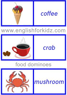 Food and Drinks Dominoes. Part - Food and Drinks Dominoes. Teach English To Kids, English Lessons For Kids, Teaching English, Food Vocabulary, English Vocabulary, Effective Learning, Crab Recipes, Food Tasting, How To Memorize Things