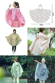 [Visit to Buy] Women Cloak Style Raincoats Flamingo Plum Flower Prints Coat Rain Covers Gear Household Merchandises Accessories Supplies Items #Advertisement
