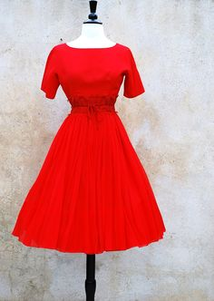 1950s red cocktail dress/ Mad Men classic 50s /medium. $82.00, via Etsy.