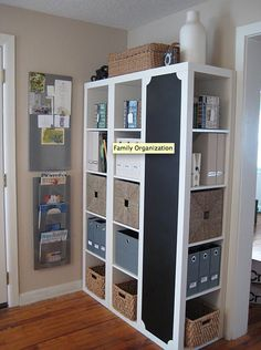 Use a bookshelf to hold large amounts of storage! #bookshelf #organized #storage