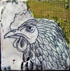 Poultry portrait sm IV 100x100mm Encaustic on board