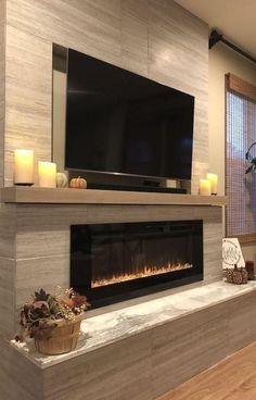 inspiring modern living room, low fireplace, design idea - Home Design - Opzet Modern Fireplace Decor, Living Room Decor Fireplace, Fireplace Tv Wall, Fireplace Design, New Living Room, Living Room Modern, Living Room Designs, Fireplace Ideas, Modern Fireplaces