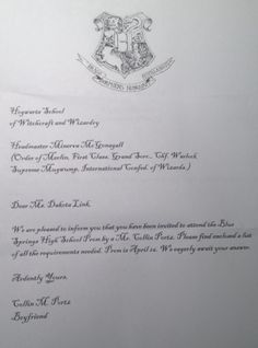 So my boyfriend asked me to prom by putting Hogwarts letters in my fireplace, but instead of the letters accepting me to Hogwarts they invited me to prom with him! (I might still prefer an actual Hogwarts acceptance letter but this will do for now!) -- Harry Potter Prom Idea
