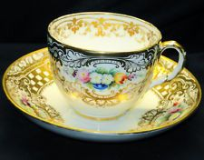 ANTIQUE RIDGWAY ENGLAND BATES c.1852 GOLD TEA CUP AND SAUCER