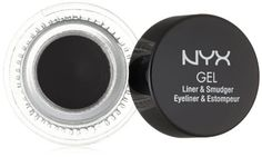 NYX Cosmetics Gel Eyeliner and Smudger Betty Jet Black 011 Ounce ** Read more at the image link. Best Gel Eyeliner, Eyeliner Types, Eyeliner Brands, How To Apply Eyeliner, Pencil Eyeliner, Perfect Cat Eye, Glitter Eye Makeup, Sparkly Eyeshadow