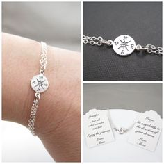 """~Sterling Silver Double Chain Compass Bracelet~ For the graduate, a loved one who is traveling or lives far away, or for that special someone about to take a new journey in life. Comes with a Custom Message Gift Tag. """"Enjoy the Journey"""" """"Go confidently in the direction of your dreams"""" """"Not all who wander are lost"""""""