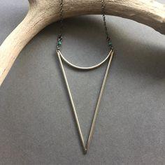 custom minimalist, large arrowhead statement necklace