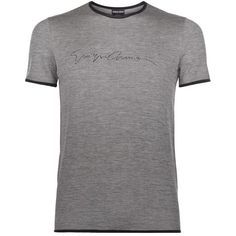 Giorgio Armani Signature Jersey T-Shirt (€780) ❤ liked on Polyvore featuring men's fashion, men's clothing, men's shirts and men's t-shirts