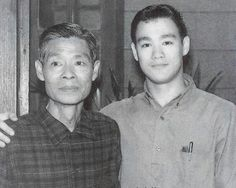 Bruce Lee with his father. Bruce was the son of Cantonese opera star Lee Hoi-Chuen. Martial arts icon