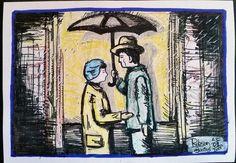 Trabalho de Imagem 01 Pictórica - Mensagem do filme Dançando na Chuva. Desenho com Nankin e giz pastel sobe papel.