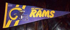 "Rare Vintage 1970s NFL Football Pennant Los Angeles Rams 28"" Long please retweet"