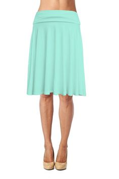 Womens Basic Soft Stretch Mid Midi Knee Length Flare Flowy Skirt Made in USA at…