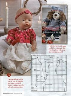 Album Archive - Dukketøj til Baby Born 2 - Ingelise Baby Born Clothes, Bitty Baby Clothes, Doll Dress Patterns, Clothing Patterns, Sewing Patterns, Sewing Doll Clothes, Sewing Dolls, Baby Dress Tutorials, Baby Boy Baptism Outfit