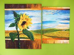 Słonecznik Akryl, ręcznie malowany na płótnie