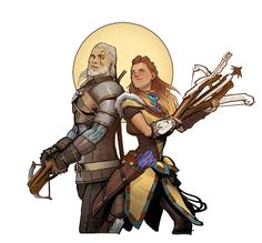 Geralt and Aloy The Witcher and Horizon Zero Dawn