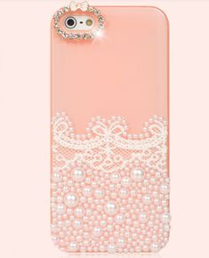 cute pearl lace apple iphone 5 case-light pink