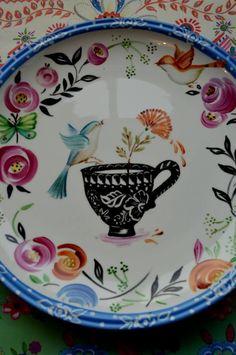 Cozinha Pottery Painting, Ceramic Painting, Stone Painting, Color Me Mine, China Painting, Hand Painted Ceramics, Ceramic Plates, China Porcelain, Tea Pots