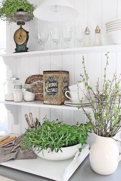 Open shelves in white vintage Scandinavian kitchen.  VIBEKE DESIGN