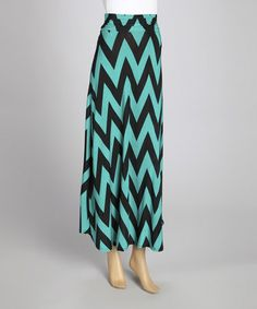 Take a look at this Mint & Black Zigzag Maxi Skirt by MOA Collection on #zulily today!